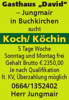 """Gasthaus """"David"""" – Jungmair in Buchkirchen sucht Koch/ Köchin"""