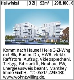 Hellwinkel 3 Zi 93m² 298.100,-€ Komm nach Hause! Helle 3-Zi-Whg mit Blk,...