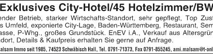 Exklusives City-Hotel/ 45 Hotelzimmer/ Baden Württemberg