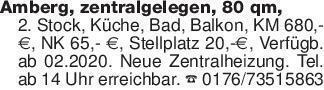 Amberg, zentralgelegen, 80 qm,...