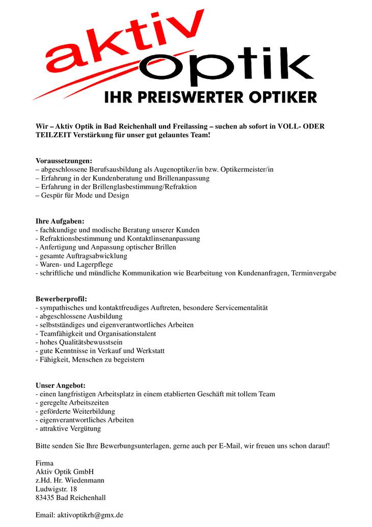Wir – Aktiv Optik in Bad Reichenhall und Freilassing – suchen ab sofort in VOLL- ODER TEILZEIT Verstärkung für unser gut gelauntes Team!