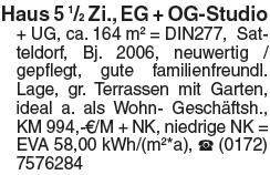 Haus 5 ½ Zi., EG + OG-Studio+ UG, ca. 164 m² = DIN277, Satteldorf, Bj....