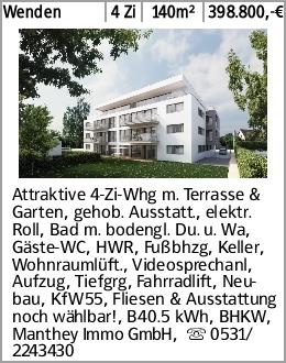 Wenden 4 Zi 140m² 398.800,-€ Attraktive 4-Zi-Whg m. Terrasse & Garten,...
