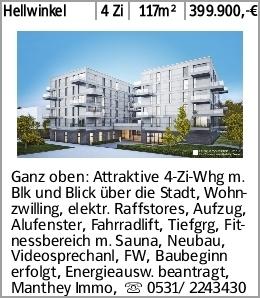 Hellwinkel 4 Zi 117m² 399.900,-€ Ganz oben: Attraktive 4-Zi-Whg m. Blk...
