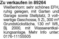 Zu verkaufen in 89264 Weißenhorn