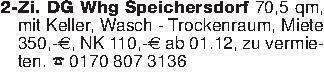 2-Zi. DG Whg Speichersdorf 70,...