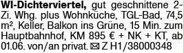 2-Zimmer Mietwohnung in Wiesbaden (65187)