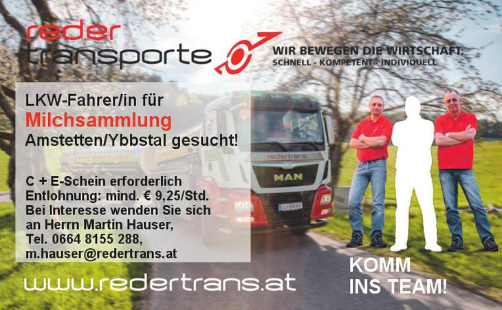 LKW-Fahrer/in für Milchsammlung  Amstetten/Ybbstal gesucht