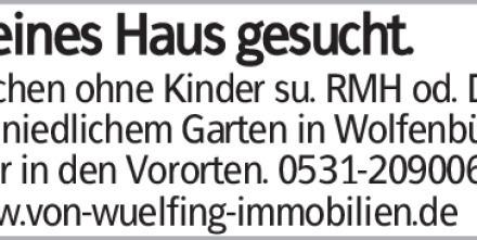 Pärchen ohne Kinder su. RMH od. DHH mit niedlichem Garten in Wolfenbüttel...