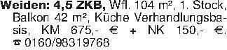 Weiden: 4,5 ZKB, Wfl. 104 m²,...