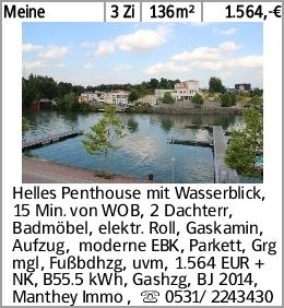 Meine 3 Zi 136m² 1.564,-€ Helles Penthouse mit Wasserblick, 15 Min. von...