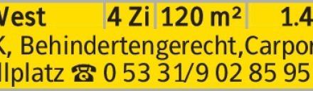 Anzeigentitel EBK, Behindertengerecht,Carport u. Stellplatz [S:A] 05331/9028595