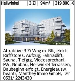 Hellwinkel 3 Zi 94m² 319.800,-€ Attraktive 3-Zi-Whg m. Blk, elektr. Raffstores,...