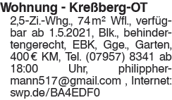 Wohnung Kreßberg OT