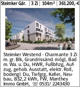 Steimker Gär. 3 Zi 104m² 361.200,-€ Steimker Westend - Charmante 3 Zi m....