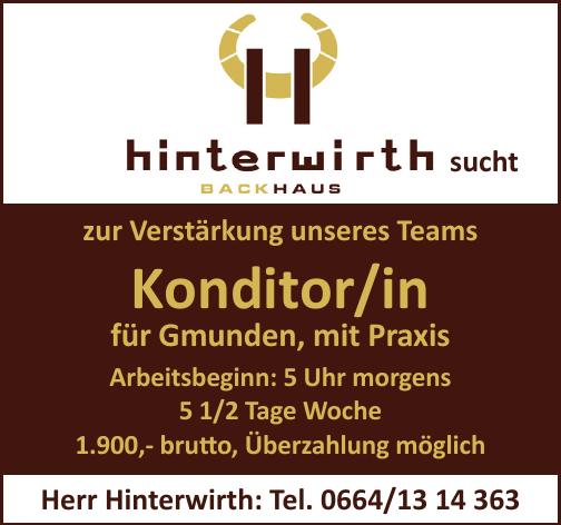 hinterwirth Backhaus sucht Konditor/in für Gmunden, mit Praxis