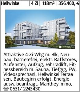 Hellwinkel 4 Zi 118m² 356.400,-€ Attraktive 4-Zi-Whg m. Blk, Neubau, barrierefrei,...