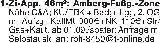 1-Zi-App. 46m²: Amberg-Fußg.-Z...