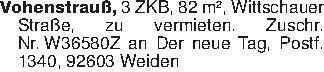 Vohenstrauß, 3 ZKB, 82 m², Wit...