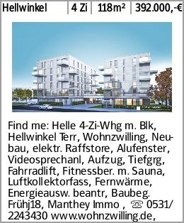 Hellwinkel 4 Zi 118m² 392.000,-€ Find me: Helle 4-Zi-Whg m. Blk, Hellwinkel...
