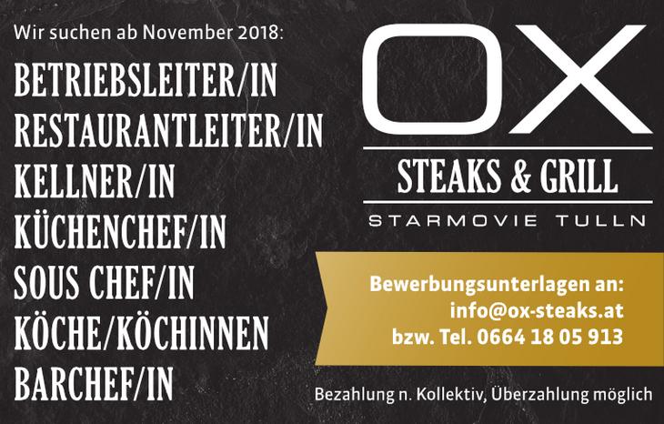 Wir suchen ab November 2018: Betriebsleiter/in, Restaurantleiter/in, Kellner/in, Küchenchef/in, Sous Chef/in, Köche/Köchinnen, Barchef/in