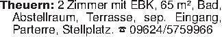 Theuern: 2 Zimmer mit EBK, 65...