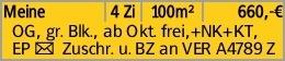 Meine 4 Zi 100m² 660,-€ OG, gr. Blk., ab Okt. frei,+NK+KT, EP Y Zuschr....