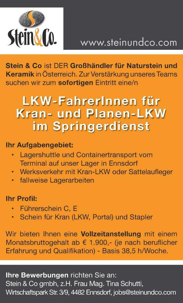 LKW-FahrerIn für Kran- und Planen-LKW