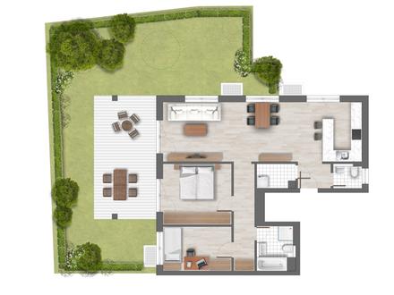 Helle Gartenwohnung in moderner Wohnanlage