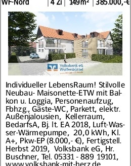 WF-Nord 4 Zi 149m² 385.000,-€ Individueller LebensRaum! Stilvolle Neubau-...