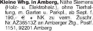 Kleine Whg. in Amberg, Nähe Si...