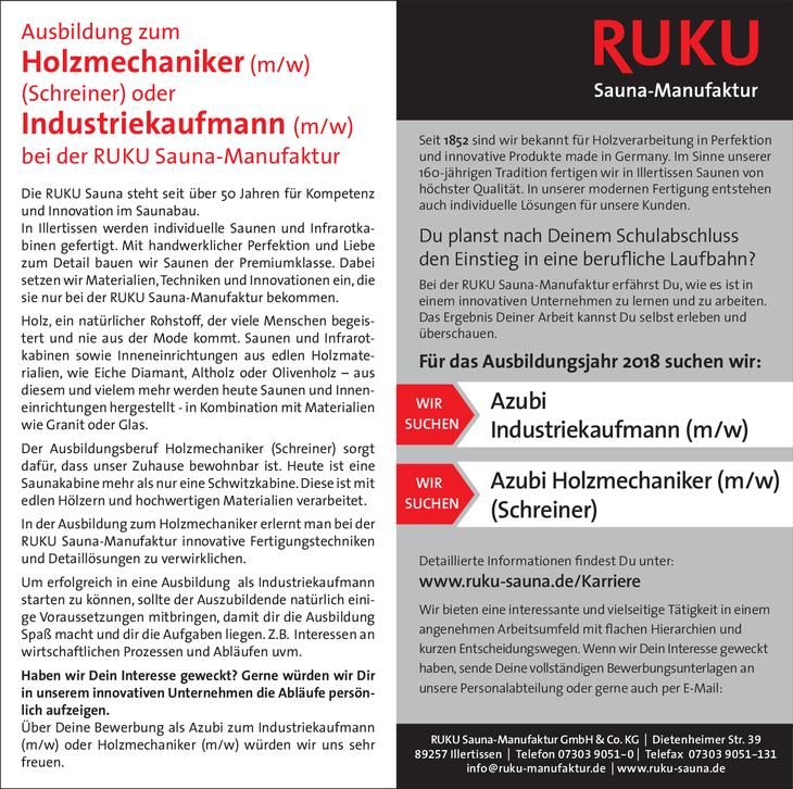 Die RUKU Sauna steht seit über 50 Jahren für Kompetenz und Innovation im Saunabau. In Illertissen werden individuelle Saunen und Infrarotkabinen gefertigt. Mit handwerklicher erfektion und Liebe...
