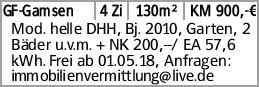 GF-Gamsen 4 Zi 130m² KM 900,-€ Mod. helle DHH, Bj. 2010, Garten, 2 Bäder...