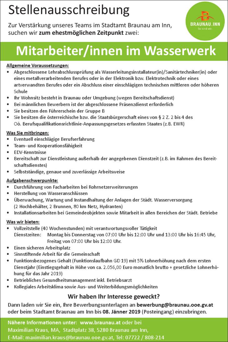 Aufgabenschwerpunkte: • Durchführung von Facharbeiten bei Rohrnetzerweiterungen • Herstellung von Wasseranschlüssen • Überwachung, Wartung und Instandhaltung der Anlagen der Städt. Wasserversorgung (2