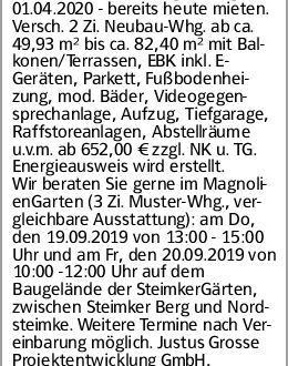 Steimker Gär. 2 Zi k.A. k.A. Wohnen 2.0 in den DreiGärten - SteimkerGärten,...