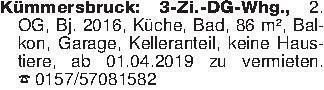 Kümmersbruck: 3-Zi.-DG-Whg., 2...