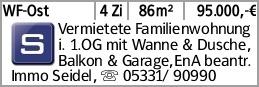 WF-Ost 4 Zi 86m² 95.000,-€ Vermietete Familienwohnung im 1. OG mit Wanne...