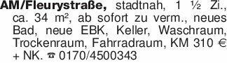 AM/Fleurystraße, stadtnah, 1 ½...
