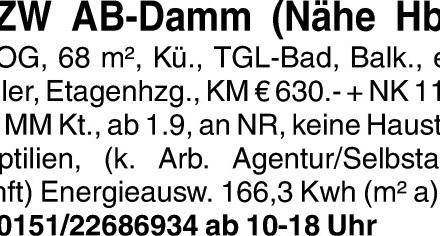 3 Zimmer AB-DAMM (Nähe Hbf.)
