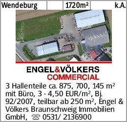Wendeburg 1720m² k.A. 3 Hallenteile ca. 875, 700, 145 m² mit Büro, 3 -...
