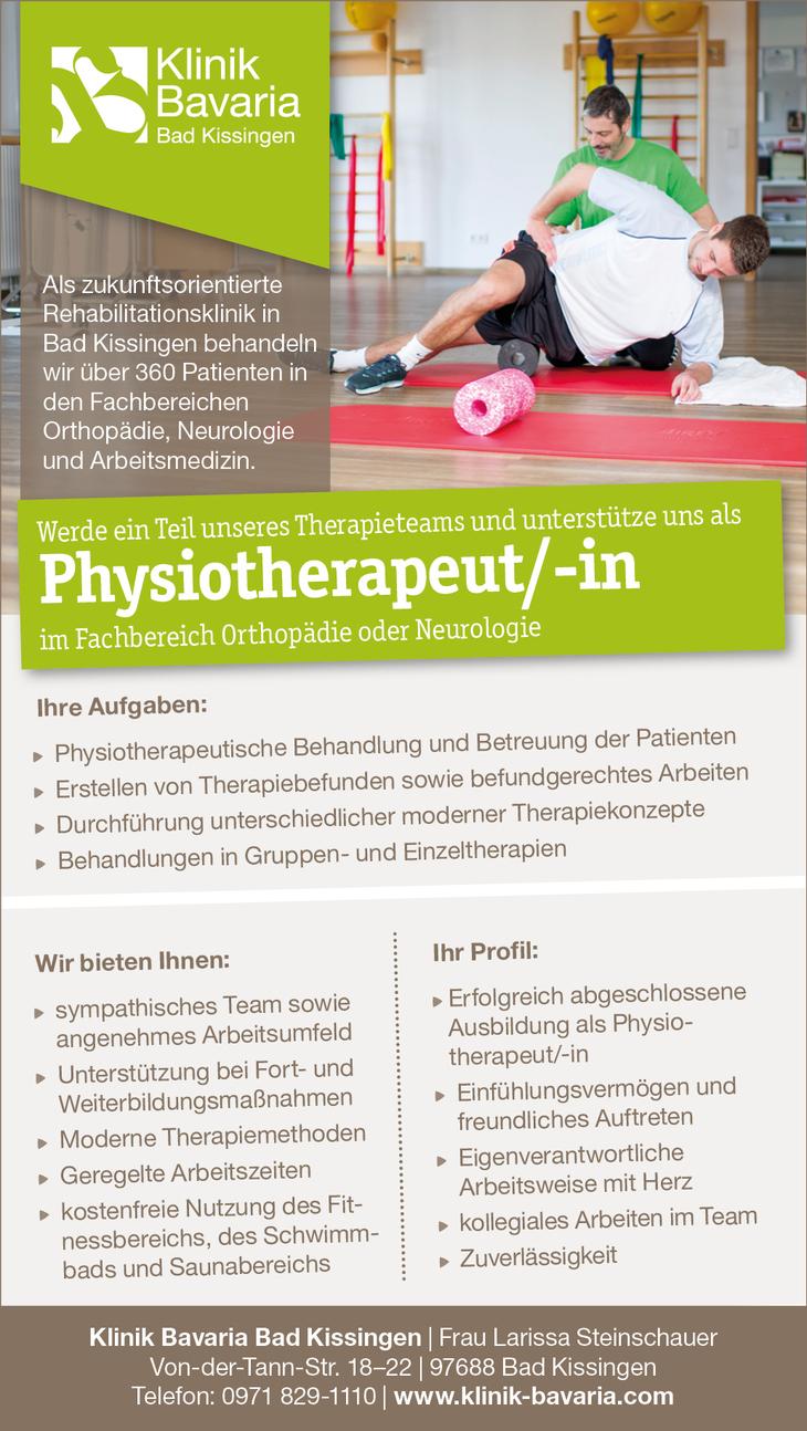 Werde Teil unseres Therapieteams und unterstütze uns als   Physiotherapeut/-in  im Fachbereich Orthopädie oder Neurologie  Wir freuen uns auf Ihre Bewerbung!