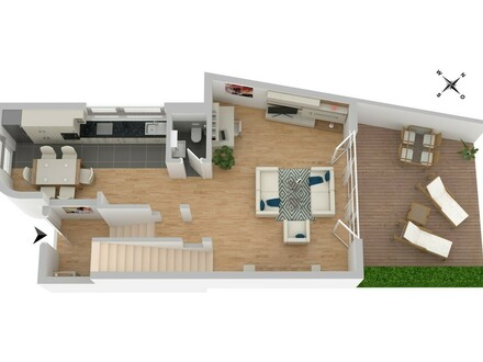 Wie ein Townhouse: Helle 4-Zi-Whg m. Terrasse über 2 Etagen!