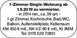 1-Zimmer Mietwohnung in Mainz-Gonsenheim (55124)