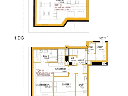 NÄHE U4 STADTPARK | TOP 16 | DG-WOHNUNG | 125,56 m² WFL | 9,57 m² TERRASSE | NÄHE BOTSCHAFTSVIERTEL