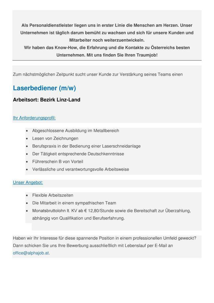 Laserbediener (m/w) Bezirk Linz-Land