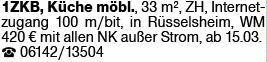 1-Zimmer Mietwohnung in Rüsselsheim (65428)