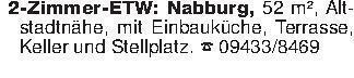 2-Zimmer-ETW: Nabburg, 52 m²,...