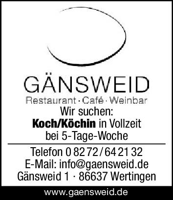 Wir suchen: Koch/Köchin in Vollzeit bei 5-Tage-Woche Hauswirtschafter/in in Teilzeit Wir freuen uns auf Ihre Bewerbung: E-Mail: info@gaensweid.de Gänsweid 1 - 86637 Wertingen www.gaensweid.de GÄNSWEID