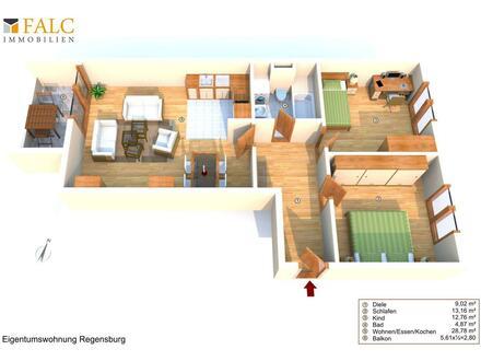 """Mehr-Geht-Nicht-Beton-""""Gold"""": TOP-3-Zimmer-Wohnung, TG, West-Balkon, EBK. 93049 Regensburg."""