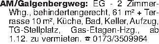 AM/Galgenbergweg: EG - 2 Zimme...